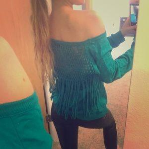 Off the Shoulder Sweatshirt with Fringe Back
